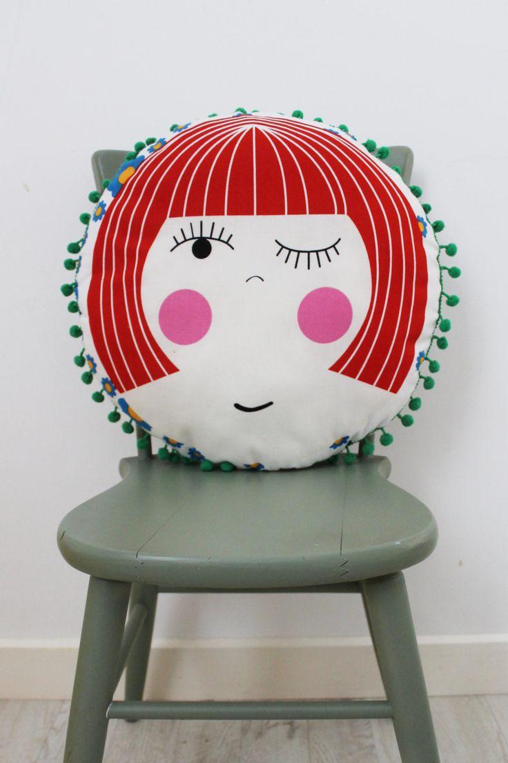 Molly Circular Cushion with Pom Pom Trim by HullabalooKids on Etsy