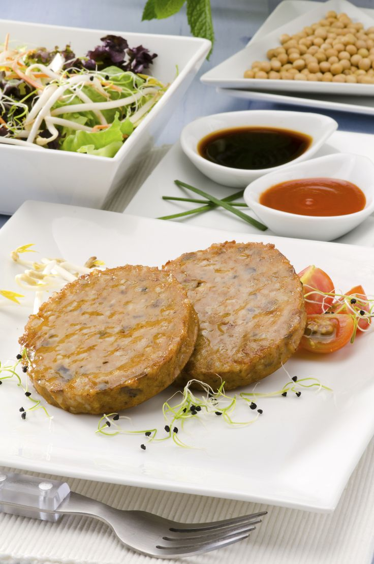 These meat-free burgers contain textured vegetable protein, a dehydrated meat alternative made from soybeans. Nutrition: 174 calories, 14 g protein, 6 g fibre