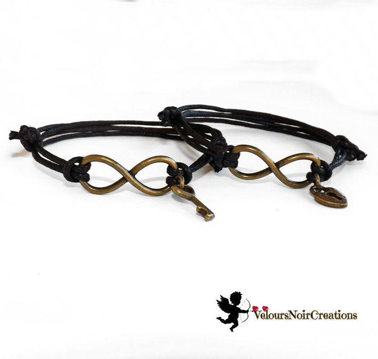Coppia bracciali infinito lucchetto e chiave in bronzo regalo san Valentino, by Velours Noir Crèations, 16,00 € su misshobby.com