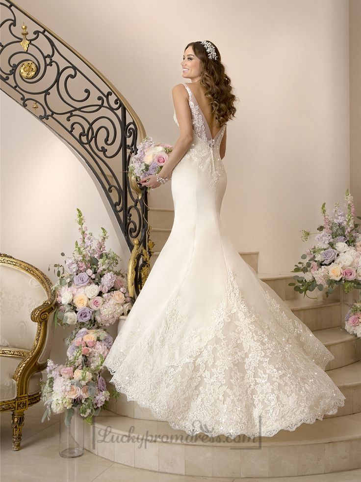 Elegant Fit and Flare Illusion Straps Wedding Dresses with Deep V-back