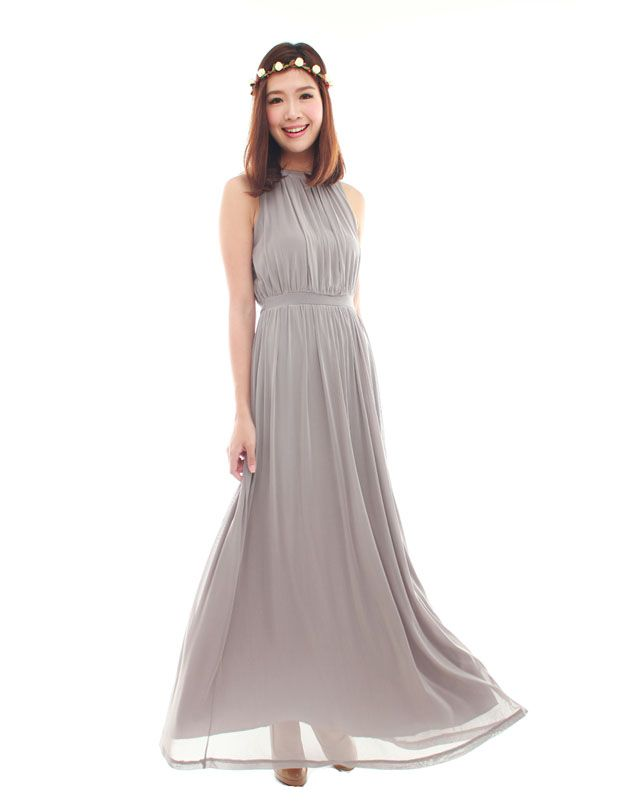 Look classy in this chic bridesmaid maxi dress that was designed to be a timeless piece. Features subtle ruched pleating and a waist band to accentuate your figure. Made of chiffon mesh and fully lined. Comes with back zip...
