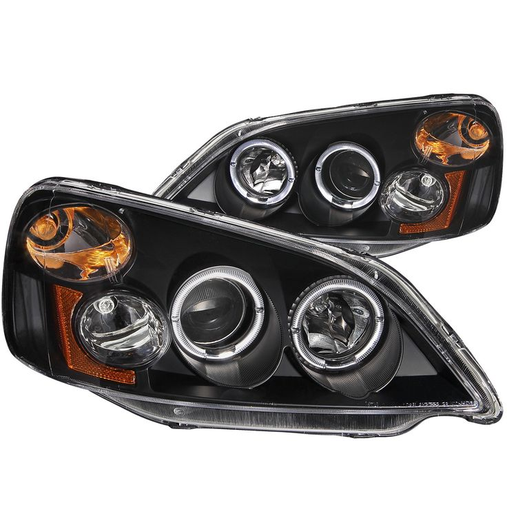 ANZO Projector Headlights with Halo Black 2001-2003 Honda Civic - Set of 2 (Not for Si model)