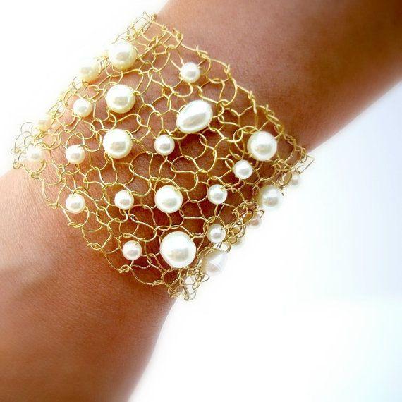 Gold Cuff Gold Natural Ivory Pearl Bracelet Elegant by lapisbeach