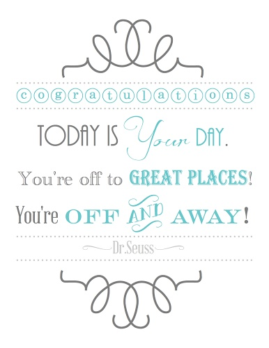 Dr. Seuss Graduation Printable! Add this to a digital photo book for your grad.