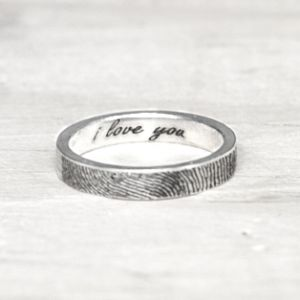 Fingerprint rings with customized message by sterling silver