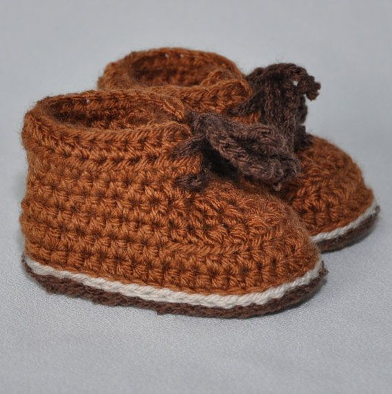 Crochet Baby Booties Baby Hiking Boots Tie by threekittensknitting, $15.00