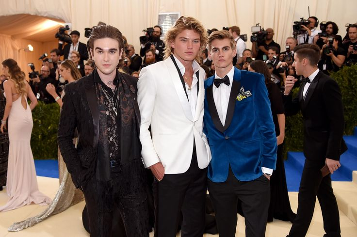 Gabriel-Kane Day-Lewis, Jordan Kale Barrett and Presley Walker Gerber. Photo:Dimitrios Kambouris/Getty Images