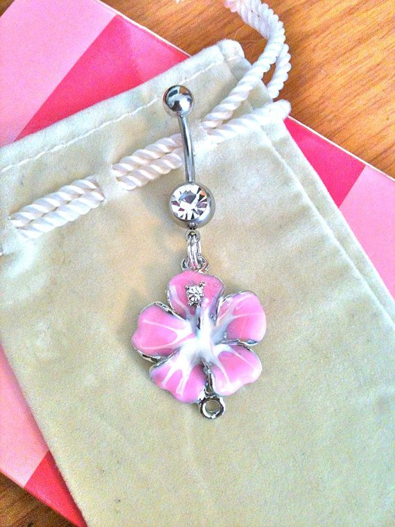 Beautiful hibiscus flower belly ring:)
