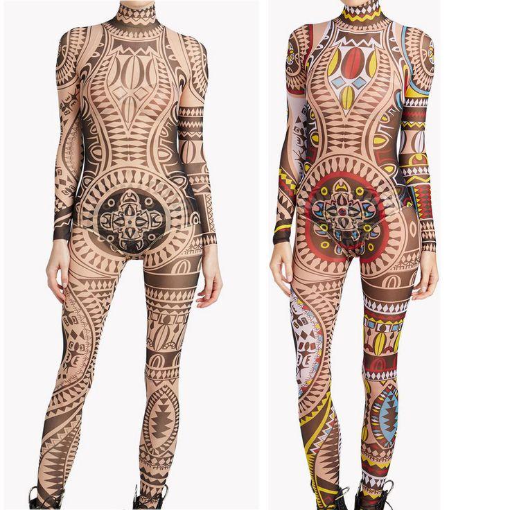 XXXL Artı Boyutu Kadın Tribal Dövme Baskı Örgü Tulum Romper Curvy Afrika Aztek Bodysuit Ünlü Catsuit Eşofman Tulum