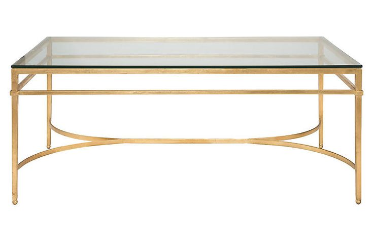 Larsen Glass Top Coffee Table, Gold Now: $439.00 Was: $549.00