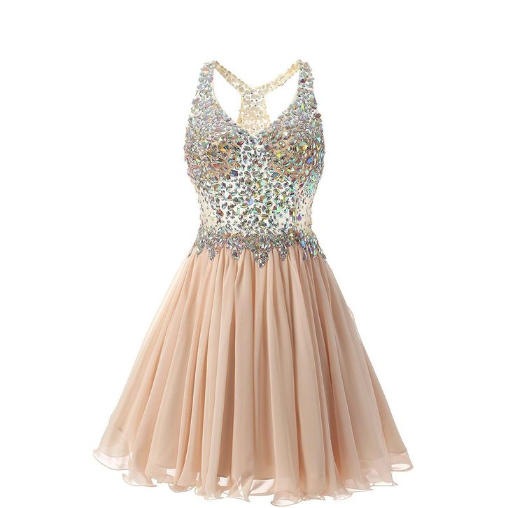 Women's Short Halter A-Line Homecoming Dresses with Beaded