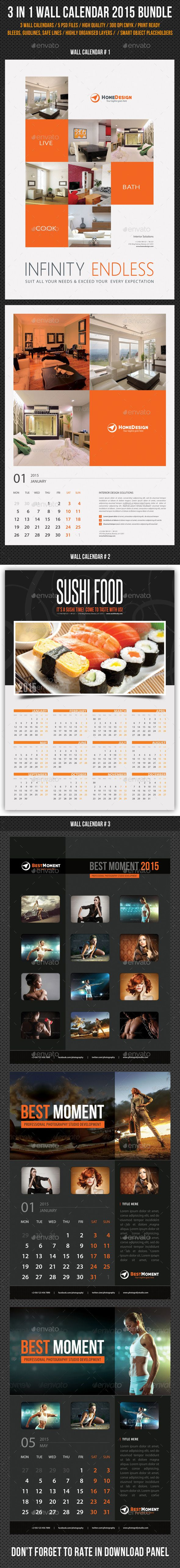 3 in 1 Wall Calendar 2015 Bundle Template | Buy and Download: http://graphicriver.net/item/3-in-1-wall-calendar-2015-bundle-v06/9573448?ref=ksioks