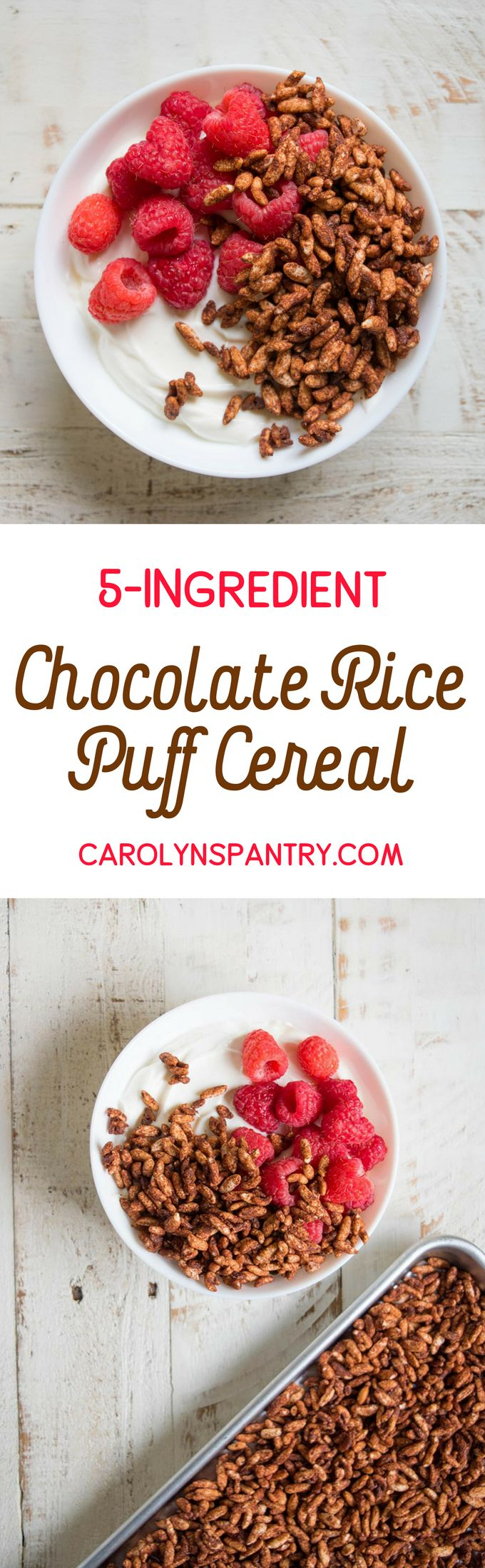 I'm completely obsessed with this easy 5-Ingredient Chocolate Rice Puff Cereal. It's loaded with superfoods like cacao powder and coconut oil, is 100% plant-based, and also gluten-free. This recipe is fantastic when you want something sweet, but are in the mood for a snack that's a bit lighter than granola.