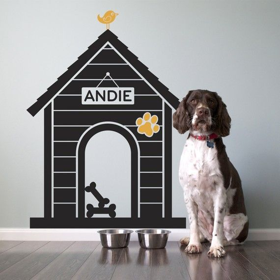 Cute dog house wall decal. Just ordered one for the kitchen, for Roxy's designated dining area!