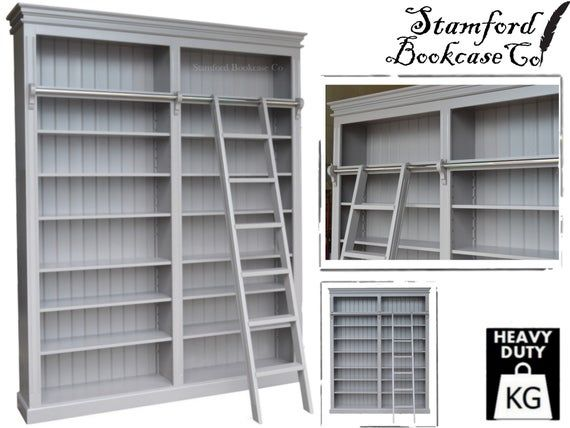 Grey Painted 8ft Tall Bookcase Adjustable Multi Display Etsy In