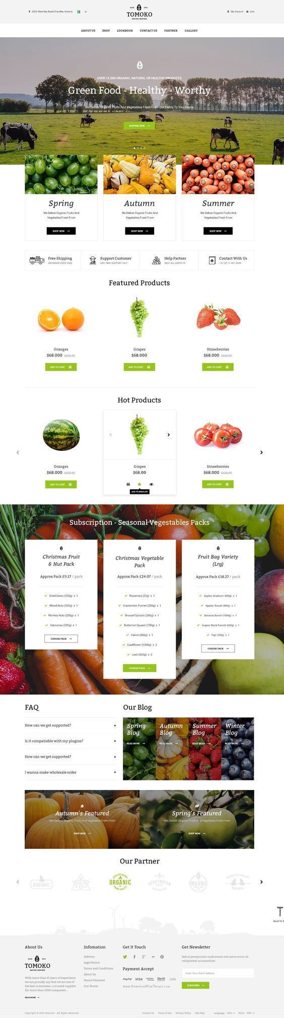 Create your online web store in minutes with Tomoko, best responsive web #store for #organic, food, #vegetable business. Hight CTA optimized: