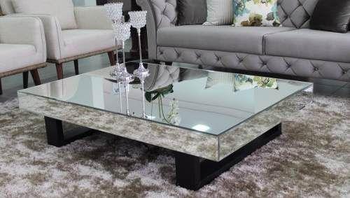 mesa de centro topazio tampo e laterais espelhada pés de mdf