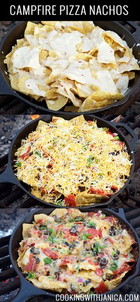 Campfire Pizza Nachos Recipe- Top with the onions, pepperoni, olives, bell pepper, and colby jack cheese. The best approached is to layer it between tortilla chips so every bit gets plenty of toppings.