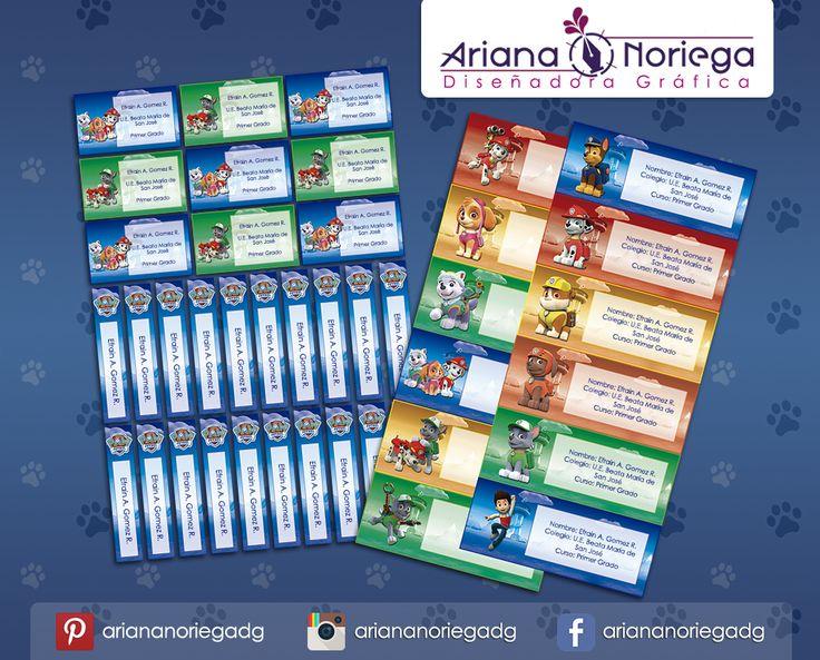 Kit Imprimible de #etiquetas personalizadas con el motivo #PawPatrol. | 3 tamaños: 9 x 3,5 cm, 5 x 1 cm y 5 x 3 cm. |   Personalized and printable #labels pack - #PawPatrol.  | 3 sizes: 9 x 3,5 cm, 5 x 1 cm and 5 x 3 cm. |   Tienda/Shop: https://www.etsy.com/es/shop/ArianaDesignStore