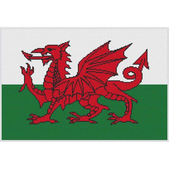 Welsh Dragon Cross Stitch PDF Pattern Chart by Chartsandstuff,$5.89