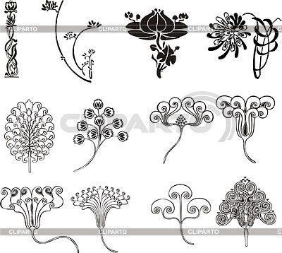 Einfache florale Ornamente im Jugendstil   Stock Vektorgrafik   ID 2026462