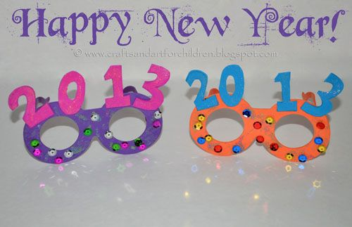 My kids & I absolutely love the New Year's Glasses we made last year and the year before, so of course we had to make them again for 2013. This year we made them sparkle with glitter glue sticks and sequins! For slightly different versions, check out the 2012 glasses they made with their friends …