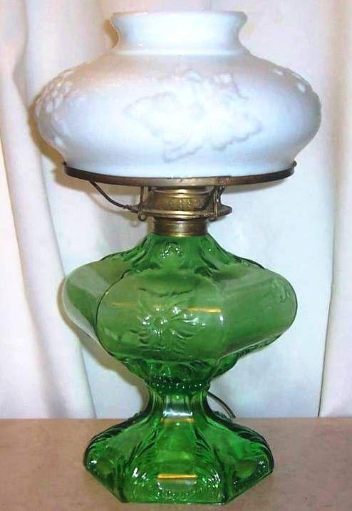 old kerosene lanterns for sale for old times sake antique fenton glass oil lamp green. Black Bedroom Furniture Sets. Home Design Ideas