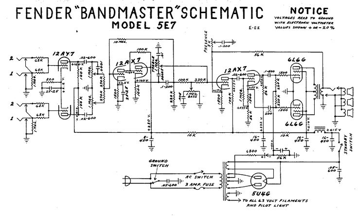 fender bandmaster tube amp schematic model 5e7 guitar diy amplifier guitar diy electric. Black Bedroom Furniture Sets. Home Design Ideas