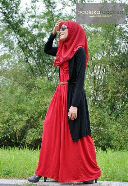 Black Cardigan + Red dress #Hijab