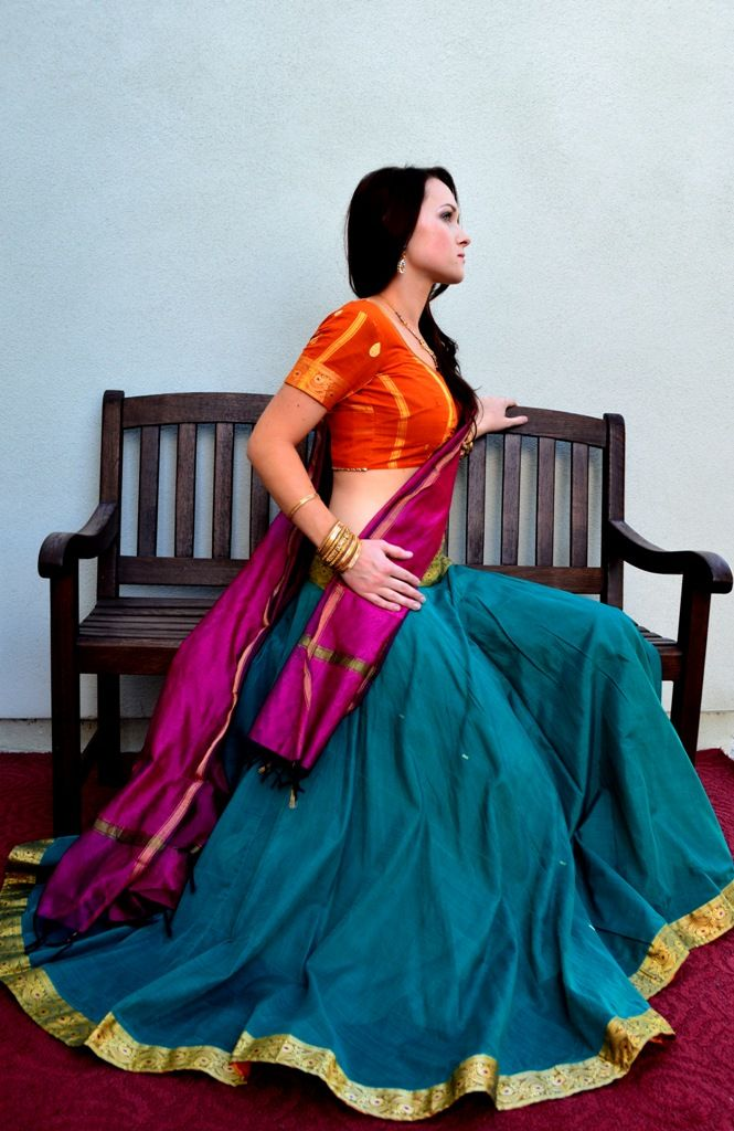 south-indian-cotton-lehengas-rgfashions really nice mix and match - to duplicate in silk