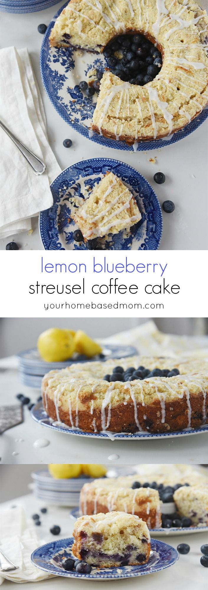 Lemon Blueberry Streusel Coffee Cake Recipe - this dessert is light, tender and delicious. Perfect for Easter and Mother's Day brunches or anytime you want something really yummy to enjoy!