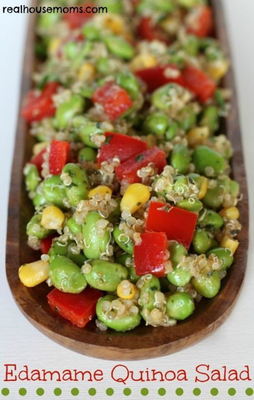 Edamame Quinoa Salad Really good! I just used an Italian dressing because I was being lazy, so I'm sure it would be even better if you followed the recipe exactly.