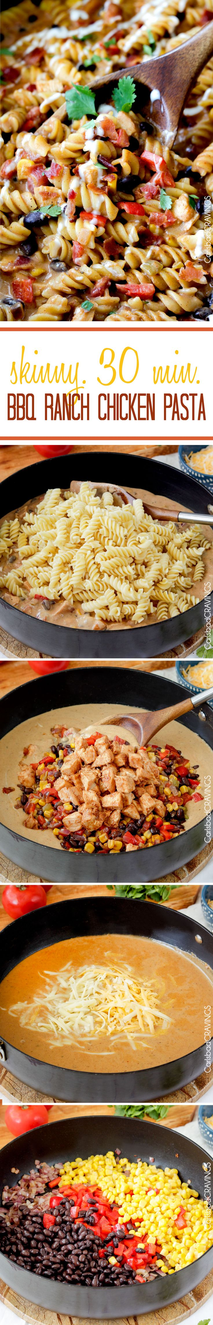 Family Favorite 30 minute Santa Fe BBQ Ranch Chicken Pasta will have your family begging for thirds with its Mexican infused SKINNY creamy ranch cheese sauce and tender oven baked chicken. I will swap pasta for gluten free pizza and exchange flour for a gf cup for cup exchange.