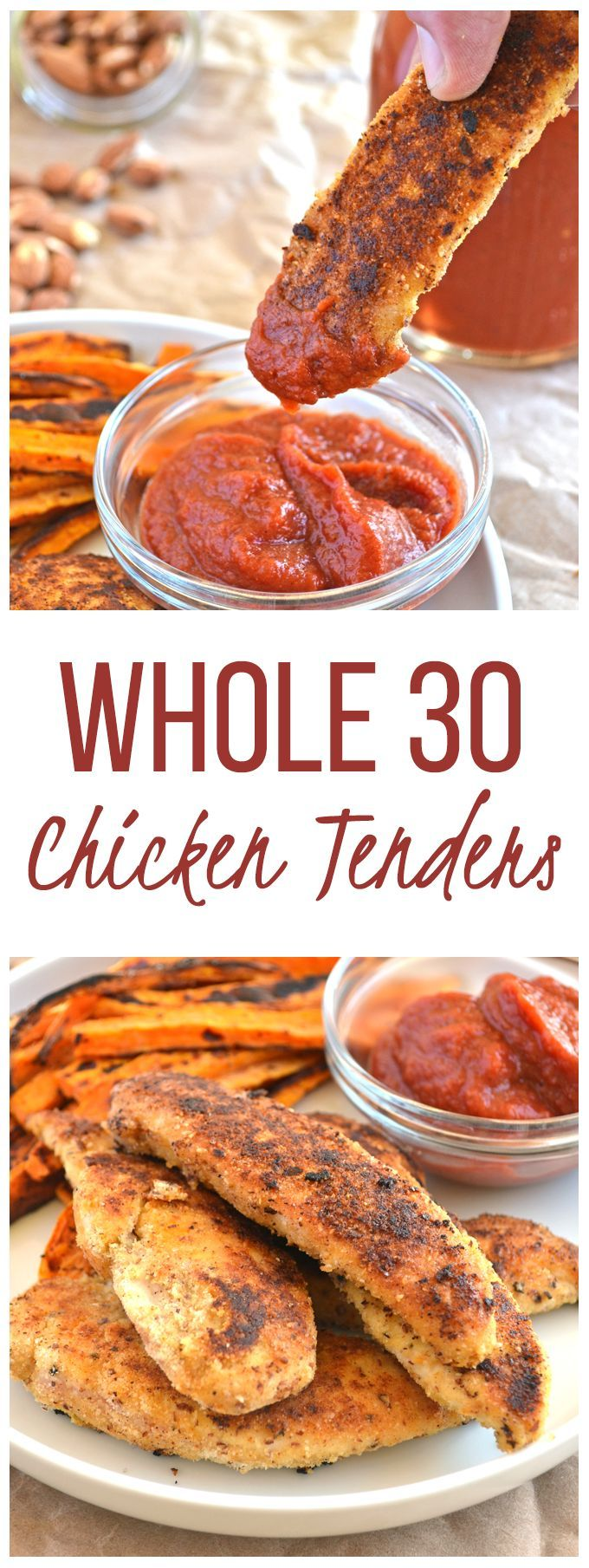 Whole30 Chicken Tenders - coating made with almond meal & coconut flour! A quick paleo meal you will love!