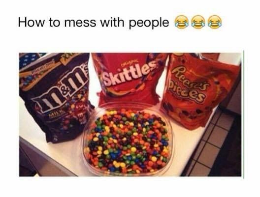Image result for skittles m&ms reese's pieces prank