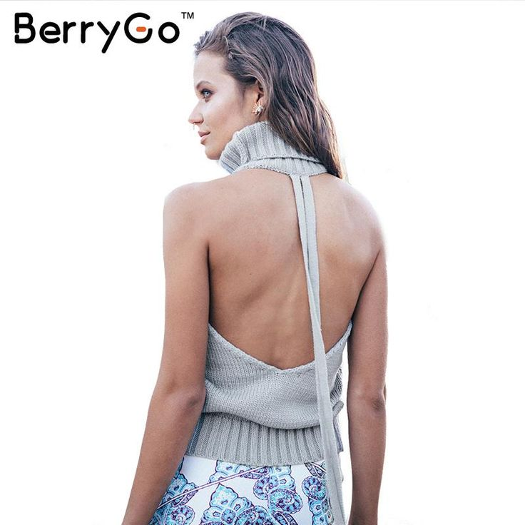 BerryGo backless turtleneck sexy knitted pullover sweaters 2015 fall women Autumn tricot pull femme oversized jumpers