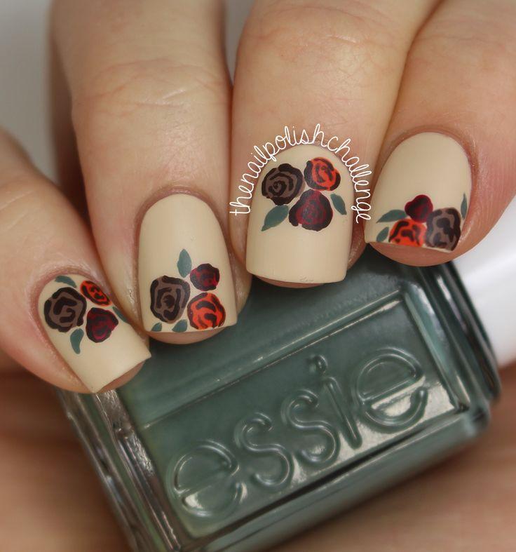 The Nail Polish Challenge: Fall Vintage Floral Nail Art