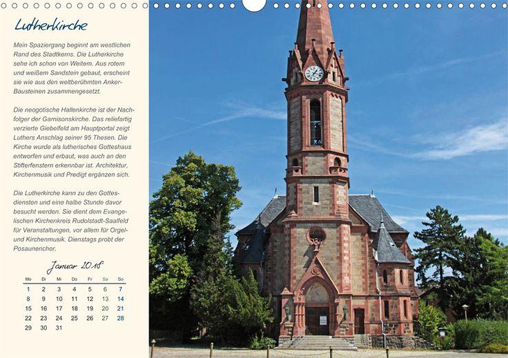 """Städte- und Regionalkalender """"Rudolstadt – mein Spaziergang durch den historische Stadtkern"""", Kalenderblatt Januar: Lutherkirche"""
