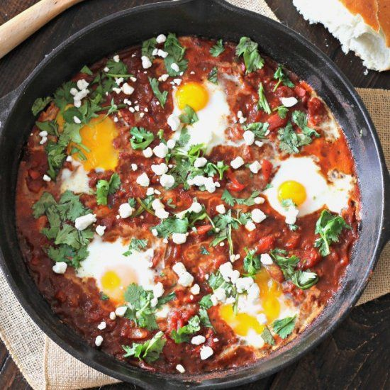 Shakshuka - Spicy skillet baked eggs. A dish popular in Western Africa and Israel.