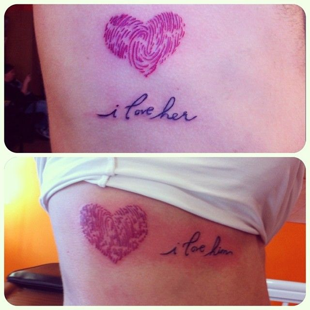 Last tattoo of 2013! Soon to be married couple declaring their love. ❤ The heart was made of each others fingerprint #tattoo #happynewyear #love  (at Definitive Studios)