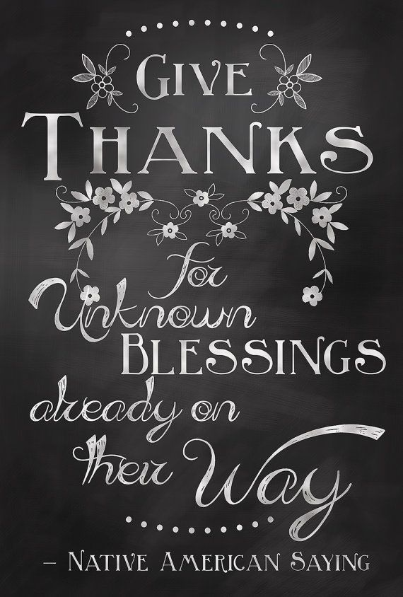 Give Thanks Quote Chalkboard Art Sign Poster - Digital Print