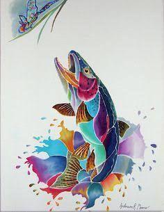 Resultado de imagem para contemporary trout paintings