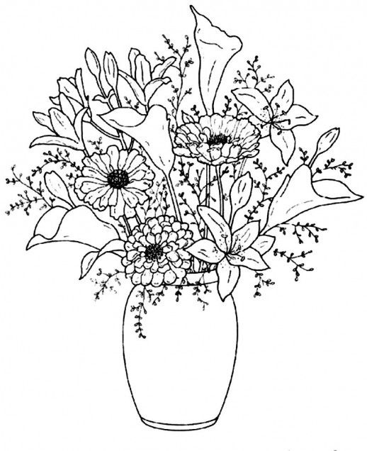 Beautiful Flower Line Drawing : Beautiful vase with pretty flowers for you home coloring