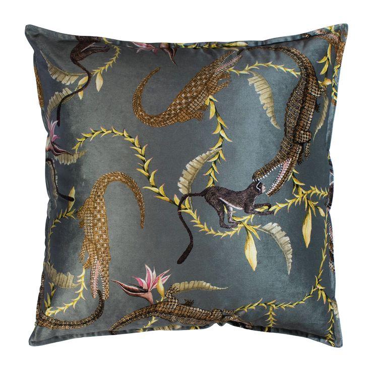 River Chase velvet cushion in Silver Ripple