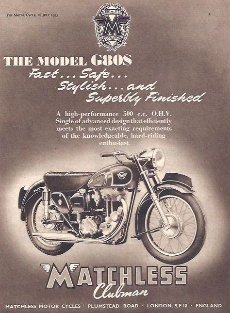 Manufacturer Matchless Detail Model G80S ndash Original Advert Size A4 Colour B W Year 1955 Reference
