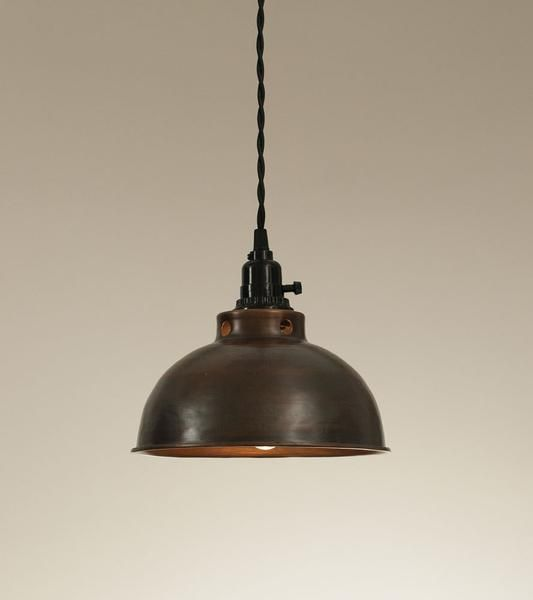 """Our Aged Copper Pendant Lamp includes it all: 15½ foot cloth-covered lamp cord with switched socket, two finished ceiling hooks, two cord clamps for adjusting the height of the lamp, and easy-to-follow instructions. This lamp plugs into any wall outlet; no wiring required. Light bulbs are not included. Measures: 9"""" x 5"""""""