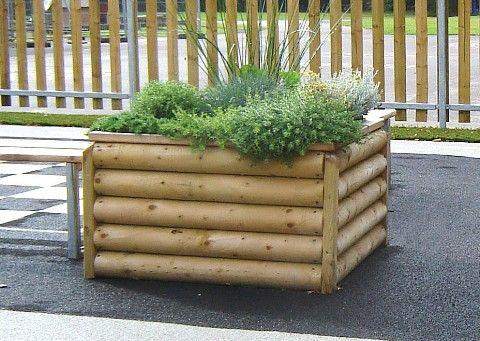 Log Planter Planters - Outdoor Furniture Playground Equipment