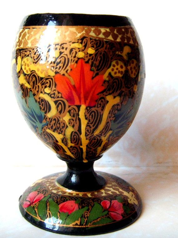 Traditional Russian hand painted lacquer Wooden Eggs cups KHOKHLOMA