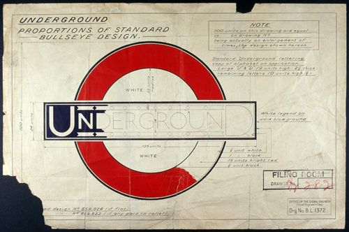 "Part of a drawing by Edward Johnston of the iconic London Underground roundel and bar, known as the  ""bullseye design"", that forms part of the design gallery at the newly opened London Transport Museum."