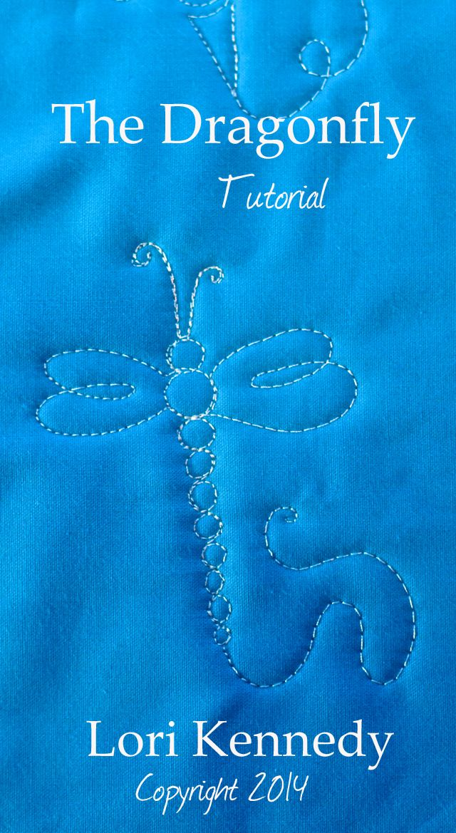 Free Motion Quilted Dragonfly